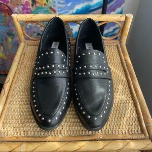 Studded black leather Steve Madden loafer